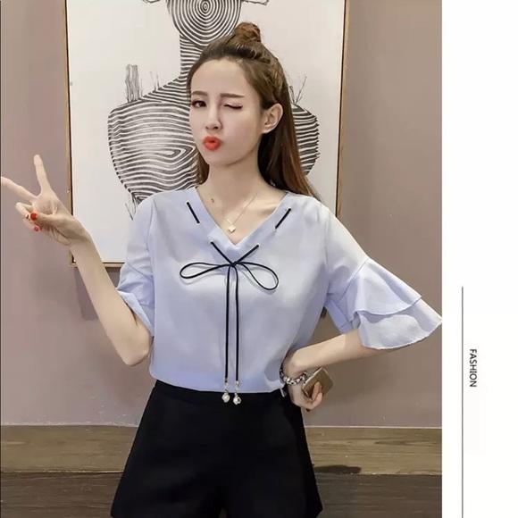 70f6bc0e0728d9 Tops | Korean Style Short Sleeve Blouses | Poshmark